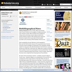 The Nobel Prize in Literature 2015 - Bio-bibliography