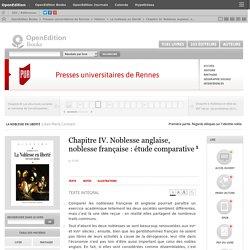La noblesse en liberté - Chapitre IV. Noblesse anglaise, noblesse française: étude comparative