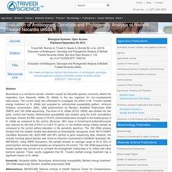 Mahendra Kumar Trivedi Biofield Treated Nocardia Otitidis