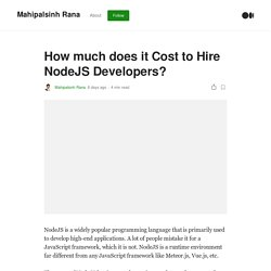 How much does it Cost to Hire NodeJS Developers?