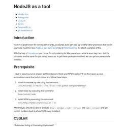 NodeJS as a tool