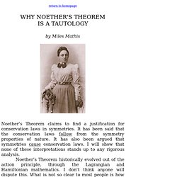 noether's theorem is a tautology