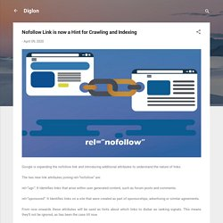 Nofollow Link is now a Hint for Crawling and Indexing