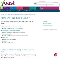 How Do I Noindex URLs? - Yoast Knowledge Base