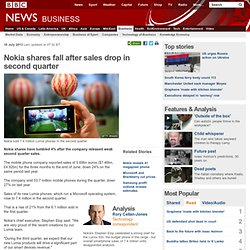 Nokia shares fall after sales drop in second quarter