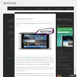 Top 67 Nokia N8 tips and tricks « highdiver's blog