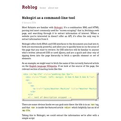 Nokogiri as a command-line tool — The blog of Rob Miller, Ruby developer