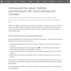 Intel-baserade Mac-datorer: Nollställa systemhanteraren SMC (System Management Controller) - Apple-support