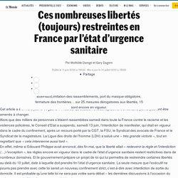 Ces nombreuses libertés (toujours) restreintes en France par l'état d'urgence sanitaire