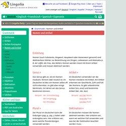 Nomen und Artikel - Lingolia Deutsch