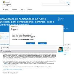Conven es de nomenclatura no Active Directory para computadores, dom nios, sites e unidades organizacionais