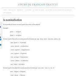 la nominalisation » cours de français gratuit