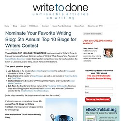 Nominate Your Favorite Writing Blog: 5th Annual Top 10 Blogs for Writers Contest