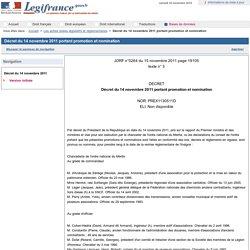 Décret du 14 novembre 2011 portant promotion et nomination