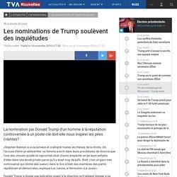 Les nominations de Trump soulèvent des inquiétudes