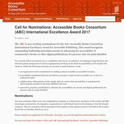 Call for Nominations: Accessible Books Consortium (ABC) International Excellence Award 2017