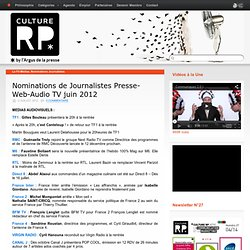 Nominations de Journalistes Presse-Web-Audio TV juin 2012