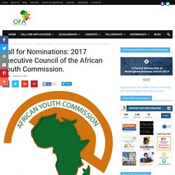 Call for Nominations: 2017 Executive Council of the African Youth Commission....