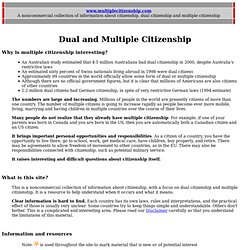 Noncommercial information about Multiple Citizenship and Dual Citizsenship