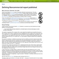 Defining Noncommercial report published