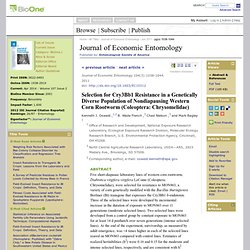 Journal of Economic Entomology - JUIN 2011 - Selection for Cry3Bb1 Resistance in a Genetically Diverse Population of Nondiapausi