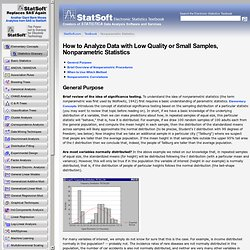 How to Analysis Data with Low Quality or Small Samples, Nonparametric Statistics