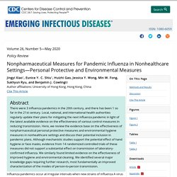 Nonpharmaceutical Measures for Pandemic Influenza in Nonhealthcare Settings—Personal Protective and Environmental Measures - Volume 26, Number 5—May 2020