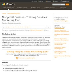 Nonprofit Business Training Services Sample Marketing Plan - Marketing Vision