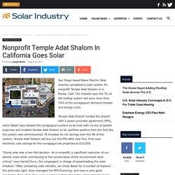 Nonprofit Temple Adat Shalom In California Goes Solar - Solar Industry