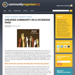 Creating Community on a Facebook Page