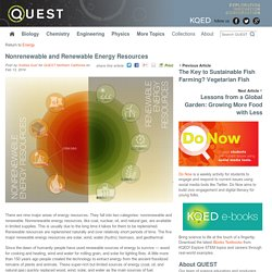Nonrenewable and Renewable Energy Resources : QUEST