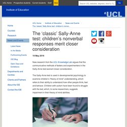 The 'classic' Sally-Anne test: children's nonverbal responses merit closer consideration