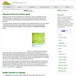 Nopales (cactus) nutrition facts and health benefits