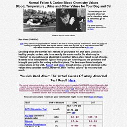 Normal Dog and Cat Blood And Urine Chemistry Test Results