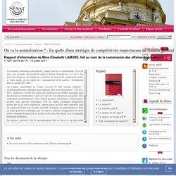 SENAT 12/07/17 RAPPORT D'INFORMATION - Où va la normalisation ? - En quête d'une stratégie de compétitivité respectueuse de l'intérêt général