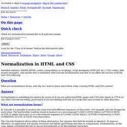 Normalization in HTML and CSS