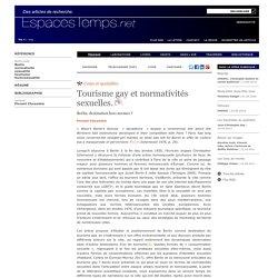 Tourisme gay et normativités sexuelles.