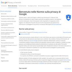 Norme sulla privacy – Privacy e termini – Google