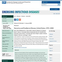 Emerging Infectious Diseases journal Vol. 11, No. 1, January 2005, Norovirus and Foodborne Disease, United States, M.-A Widdowson et al.