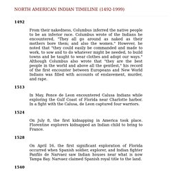 North American Indian Timeline (1492-1999)