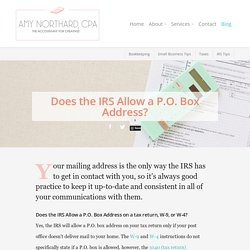 Does the IRS Allow a P.O. Box Address? - Amy Northard, CPA - The Accountant for Creatives®