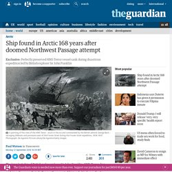 Ship found in Arctic 168 years after doomed Northwest Passage attempt