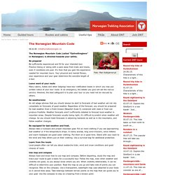 The Norwegian Mountain Code - Useful tips - The Norwegian Trekking Association