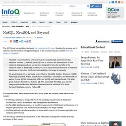 NoSQL, NewSQL and Beyond