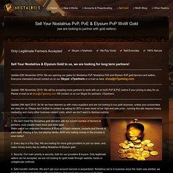 Sell Gold for Nostalrius & Elysium Vanilla 1.12 WoW