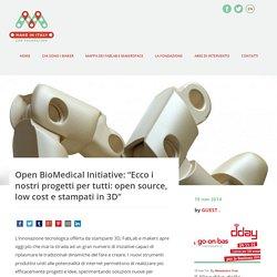 """OBM: """"I nostri progetti open source, low cost e stampati in 3D"""""""