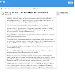 On the net Adobe flash Casino Games