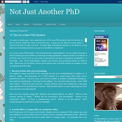Not Just Another PhD: 10 Tips for a New PhD Student