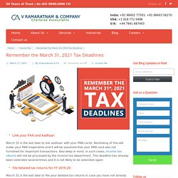 Do not miss out on the March 31, 2021 Tax Deadline