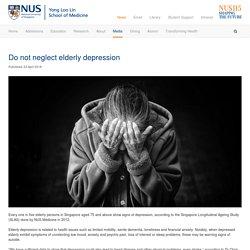 Do not neglect elderly depression